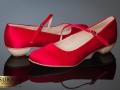 niskie czerwone buty ślubne